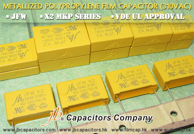jbCapacitors--JFW, X2 MKP Series, with 3 Approval